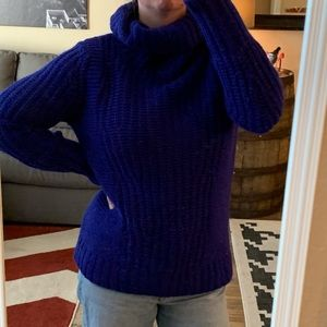 Banana Republic Blue Knit Turtleneck Sweater